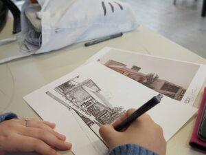 Pen drawing tijdens de les Publiciteit